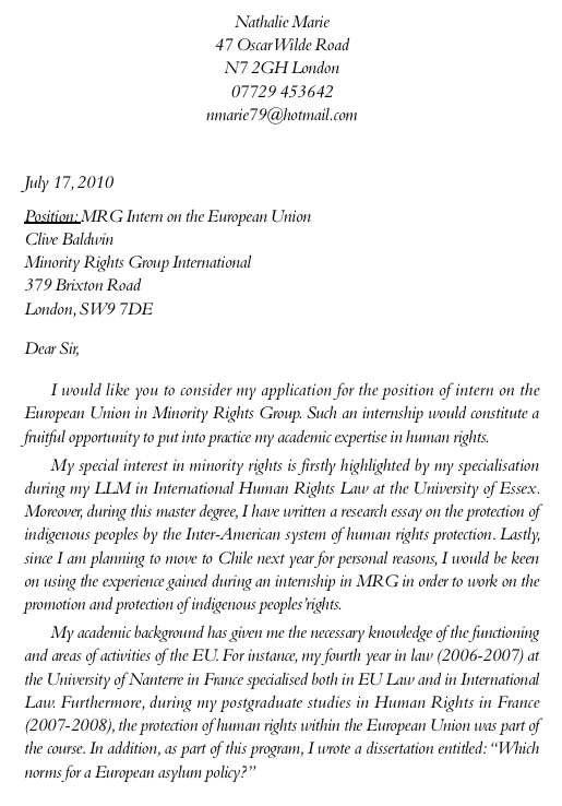 écrire une lettre de motivation anglais