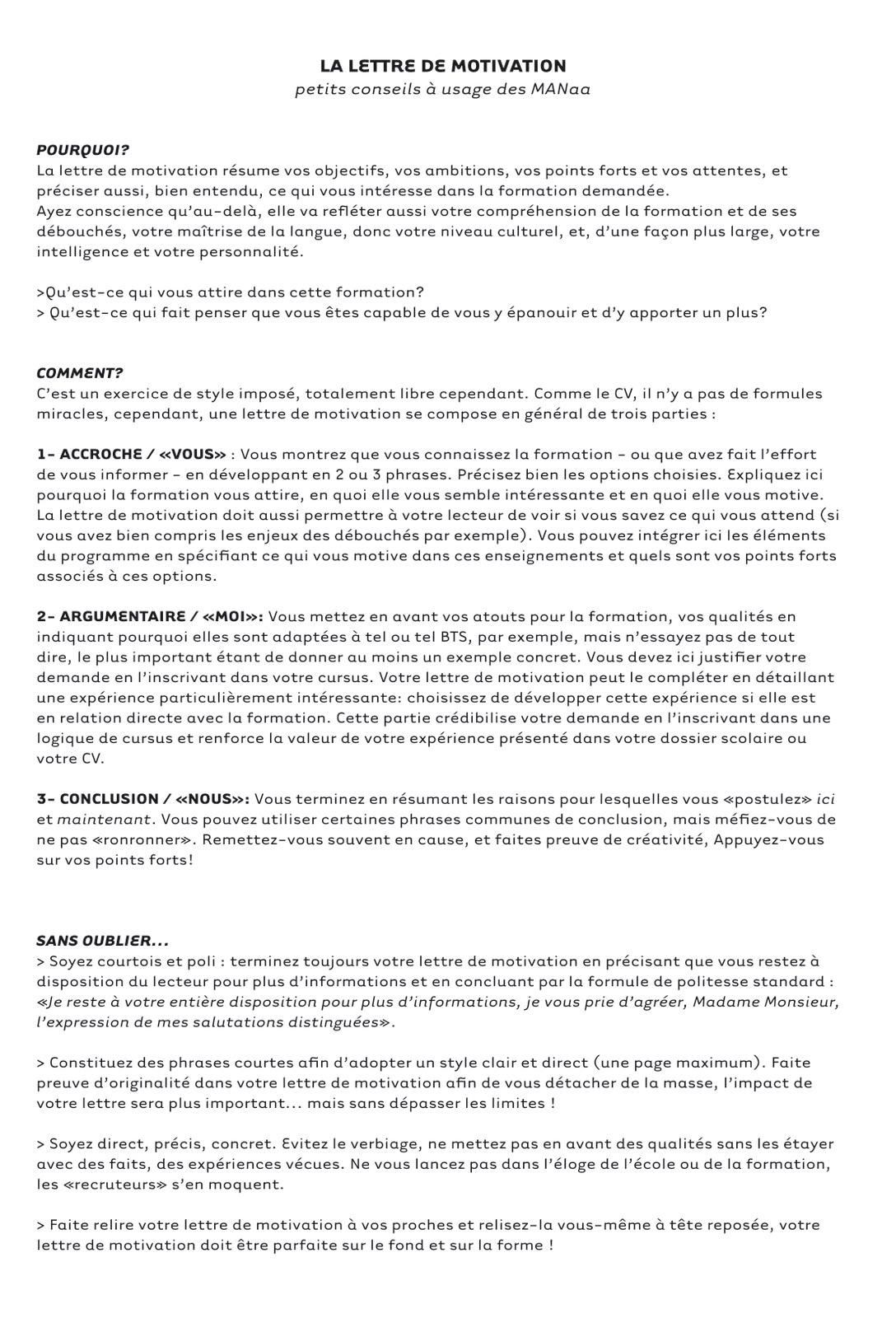 lettre de motivation pour ecole architecture