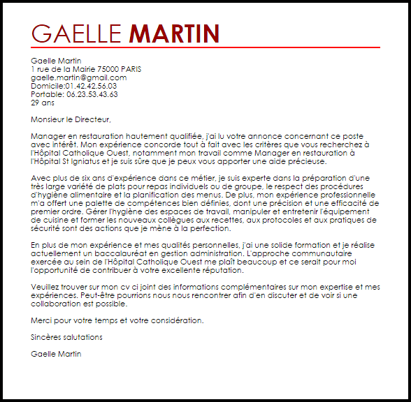 lettre de motivation formation manager