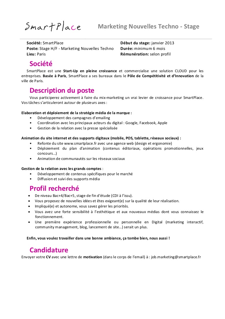 exemple lettre de motivation marketing digital