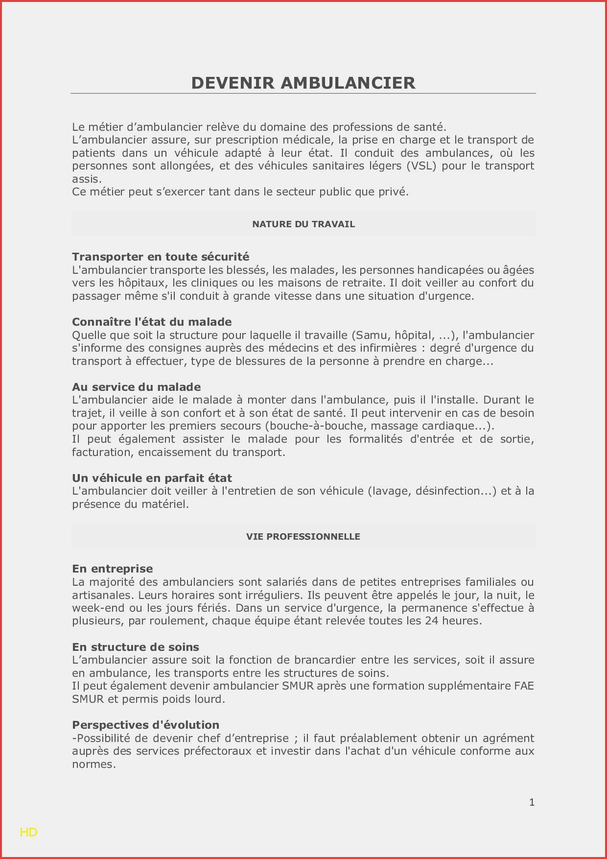 lettre de motivation ambulance