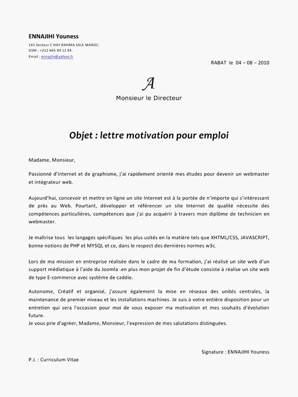 modele lettre de motivation word gratuit