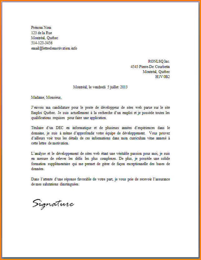 Lettre de motivation poste secretaire