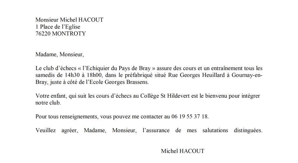 lettre de motivation pour entree au college