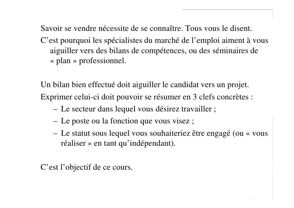 Lettre motivation bilan de competences