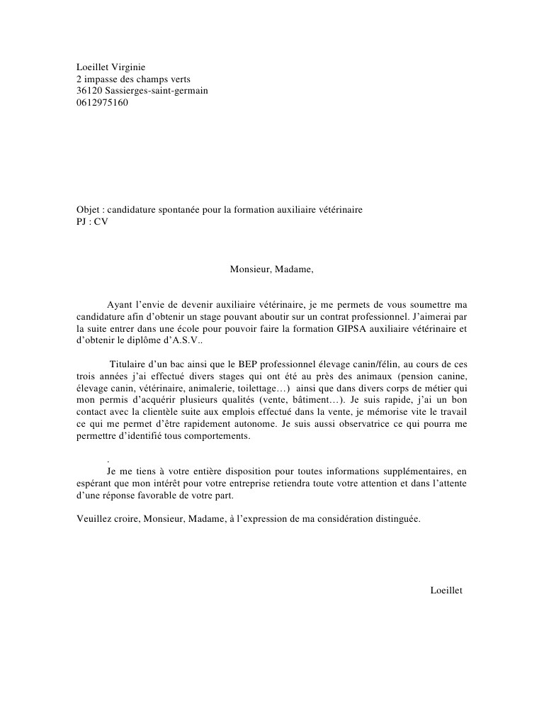 Lettre de motivation apprentissage assistant vétérinaire