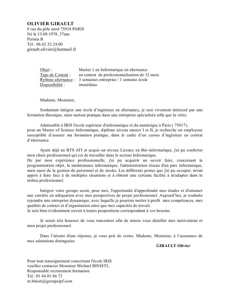 lettre de motivation pour ecole d u0026 39 ingenieur en alternance