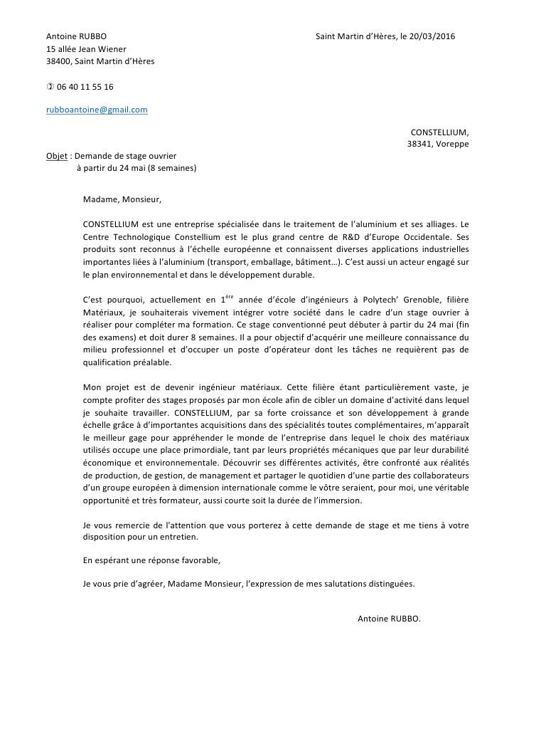 lettre de motivation stage ing u00e9nieur r u0026d