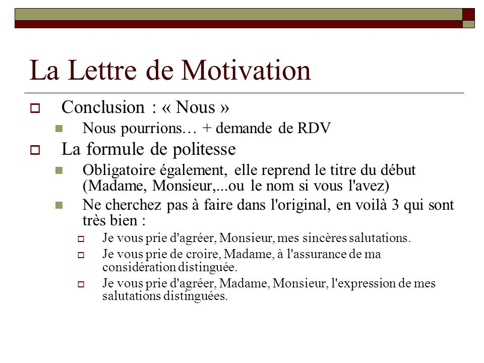 lettre de motivation stage formule de politesse