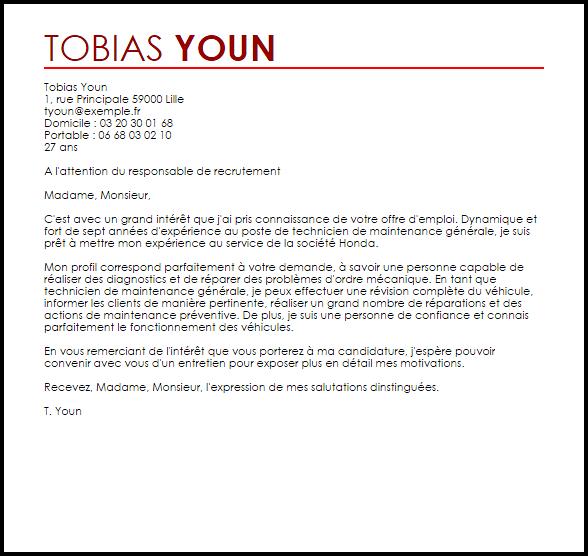 lettre de motivation responsable technique maintenance