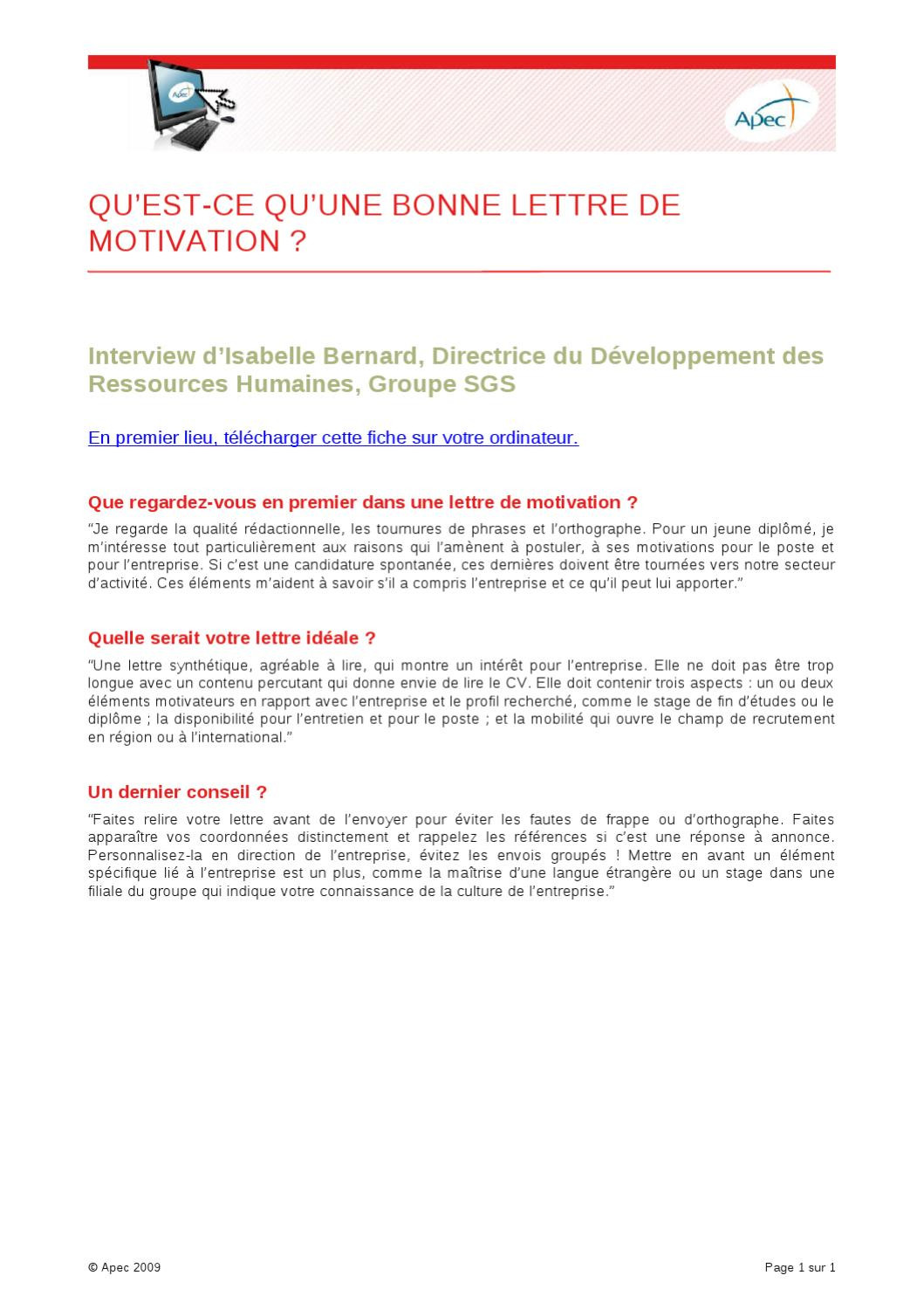 lettre de motivation apec mise en forme
