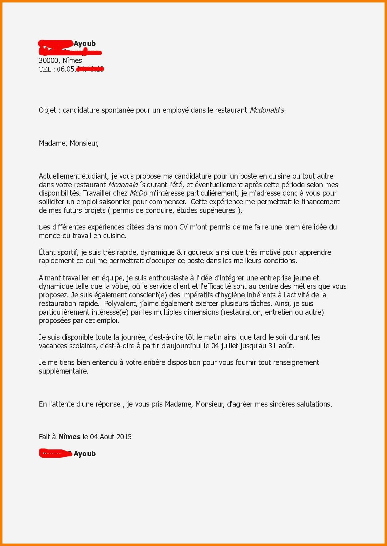lettre de motivation drive carrefour