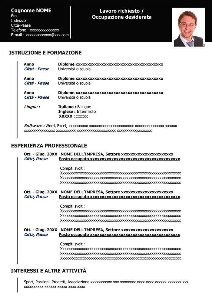 curriculum vitae italiano word