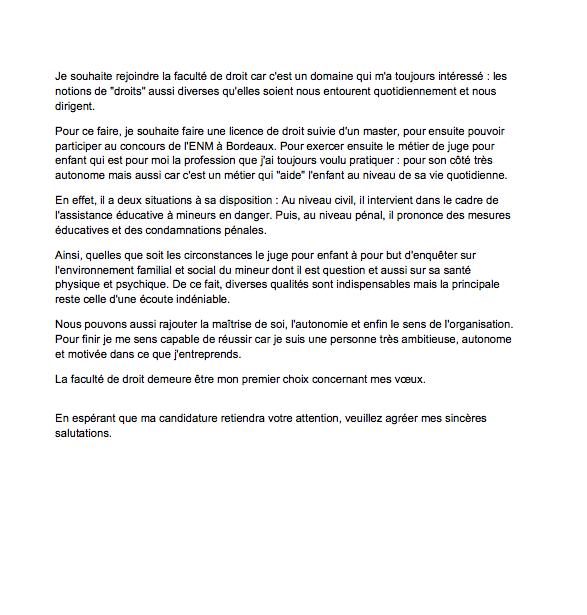 lettre de motivation pour la fac