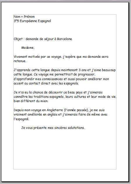 formule de politesse espagnol lettre de motivation