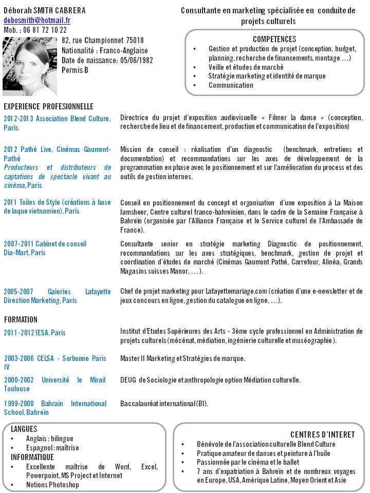 Exemple de cv médiation culturelle - laboite-cv.fr