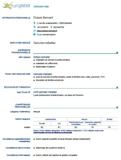 exemple de cv europass pour interim