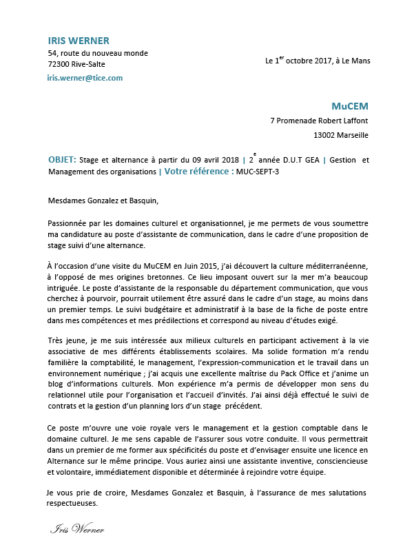 lettre de motivation parcoursup dut gea
