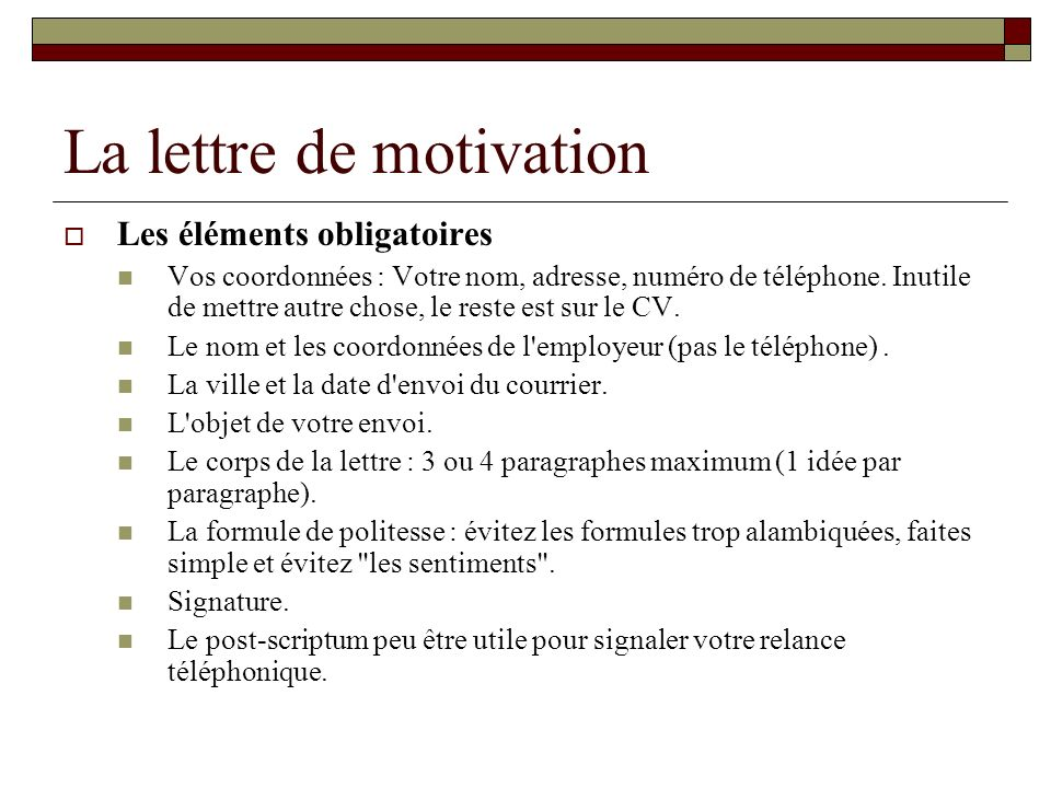 lettre de motivation dactylographi u00e9