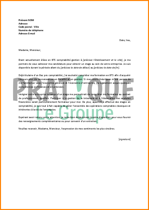 lettre de motivation bts comptabilit u00e9
