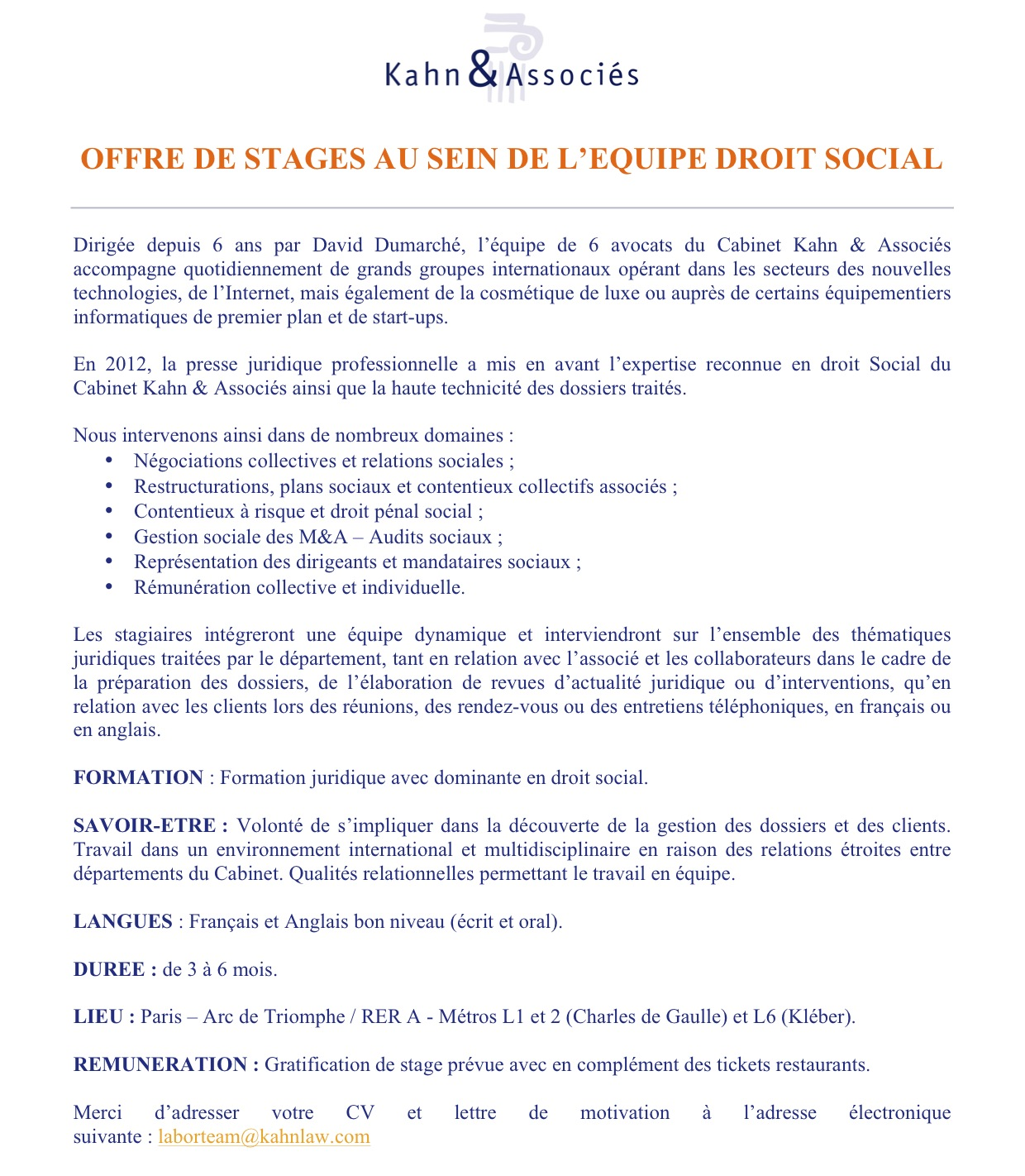 lettre de motivation stage droit des affaires