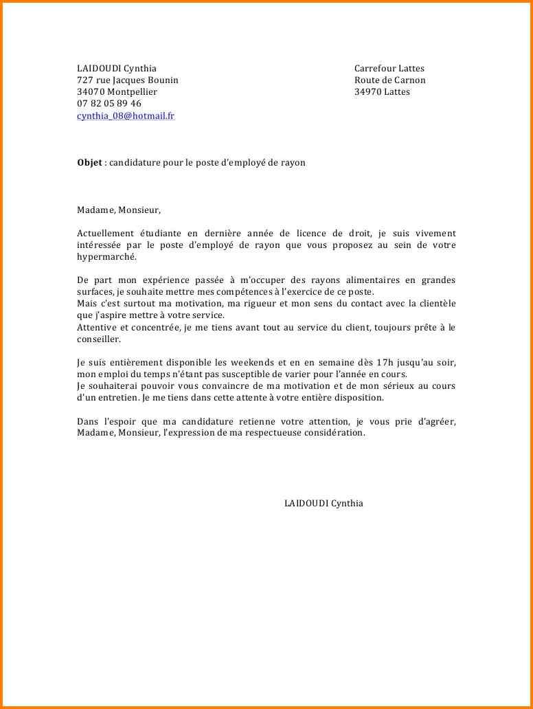 lettre de motivation mise en rayon d u00e9butant