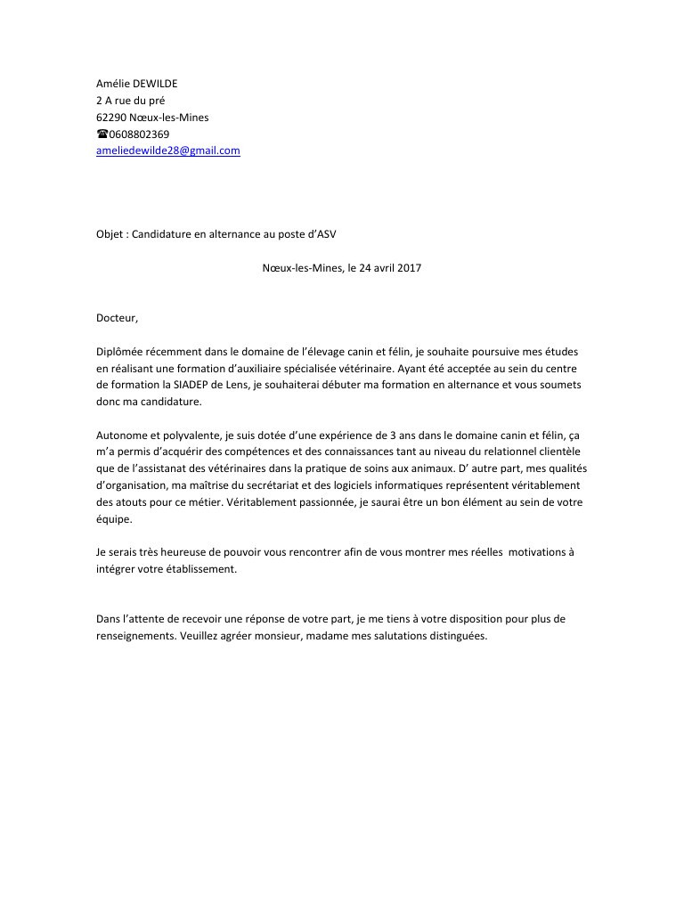 lettre de motivation opticien alternance