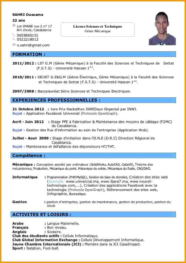 exemple de cv jeune football