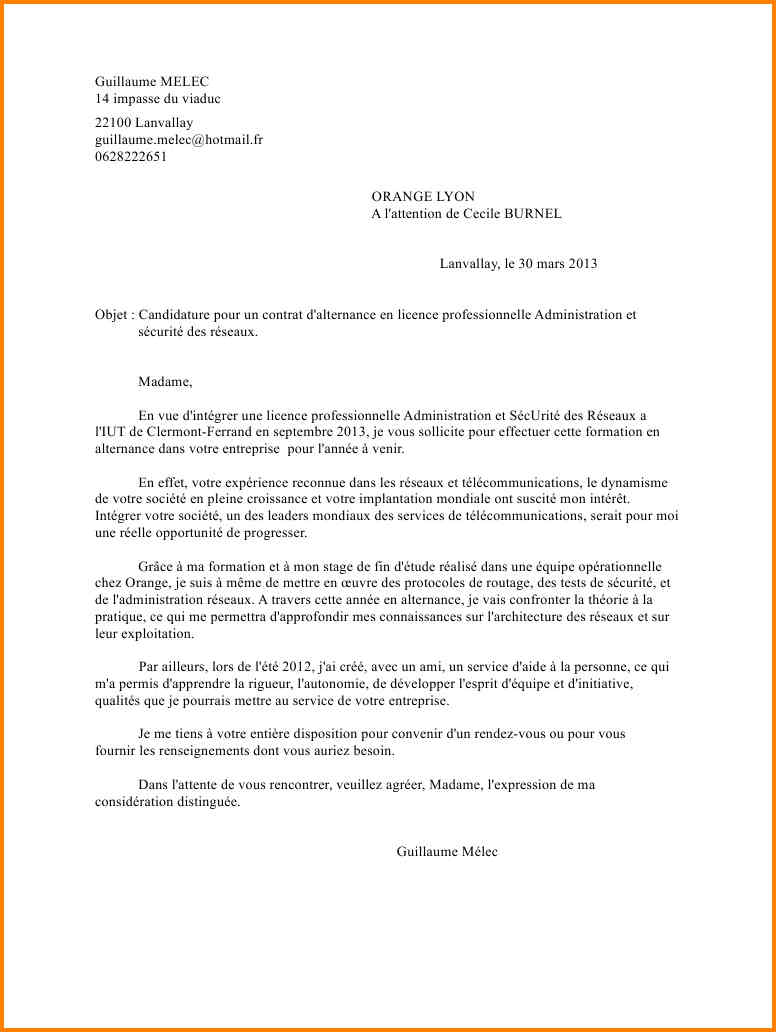 lettre de motivation bts commerce international alternance