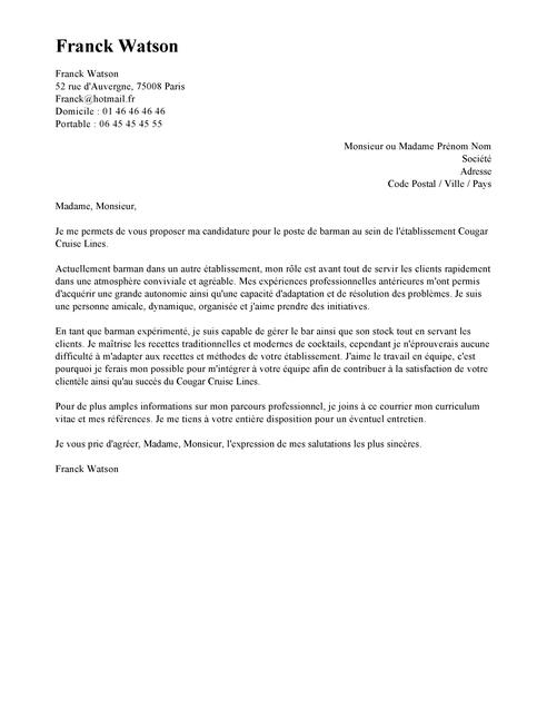 lettre de motivation pour serveuse