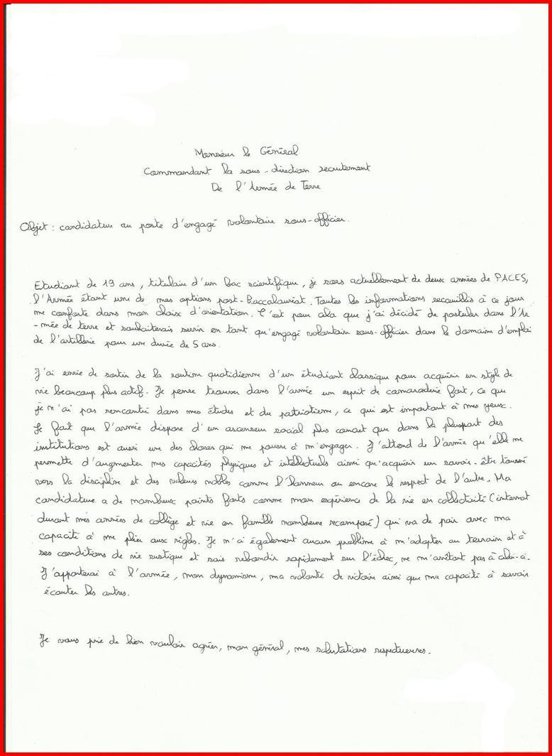lettre de motivation sous officier gendarmerie