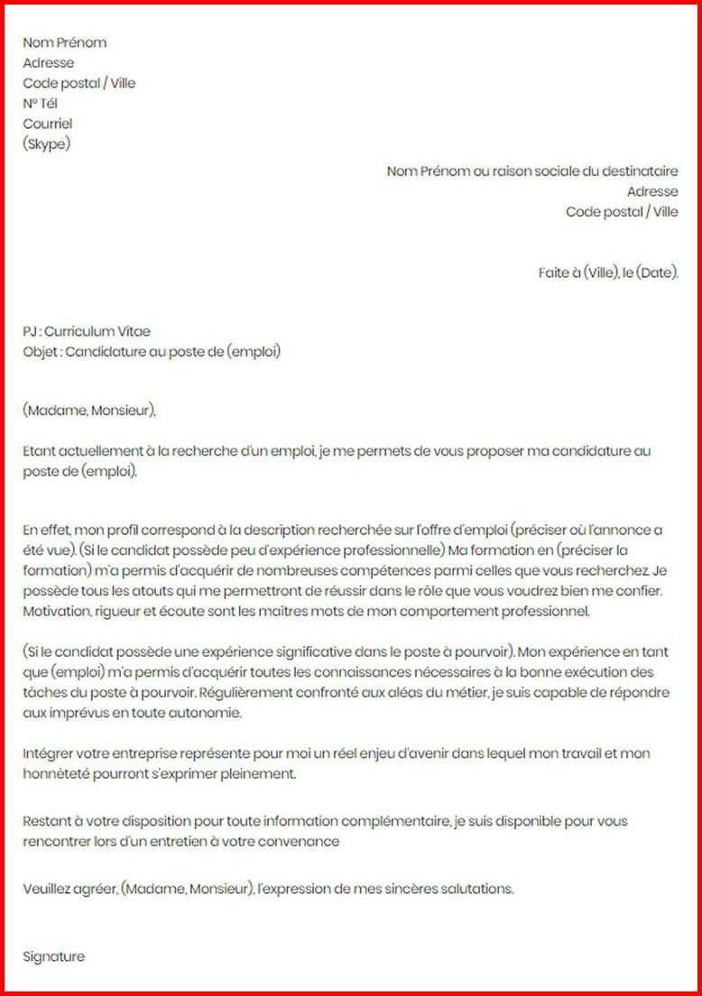 lettre de motivation sans proposition