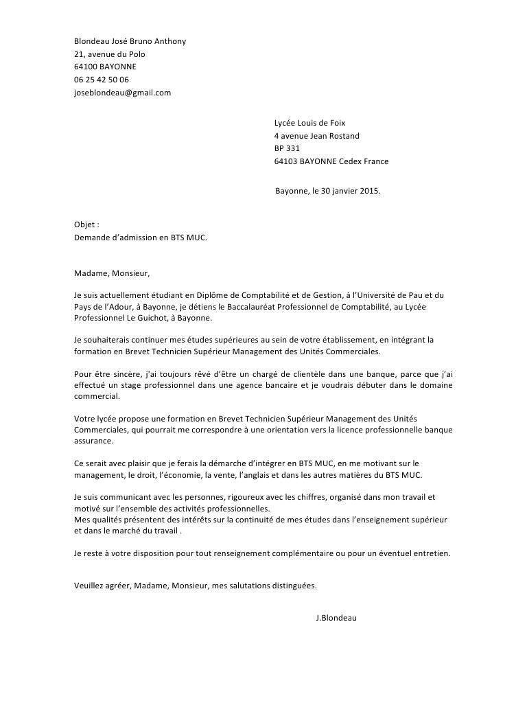 lettre de motivation bts comptabilit u00e9 et gestion apb
