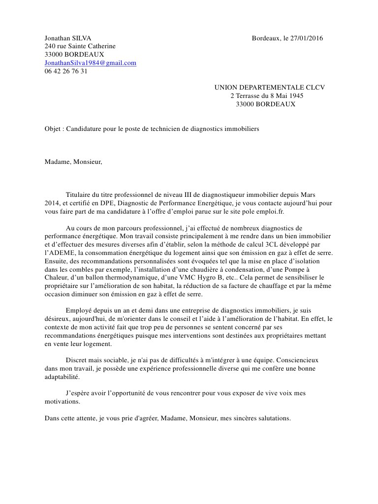 lettre de motivation diagnostiqueur immobilier