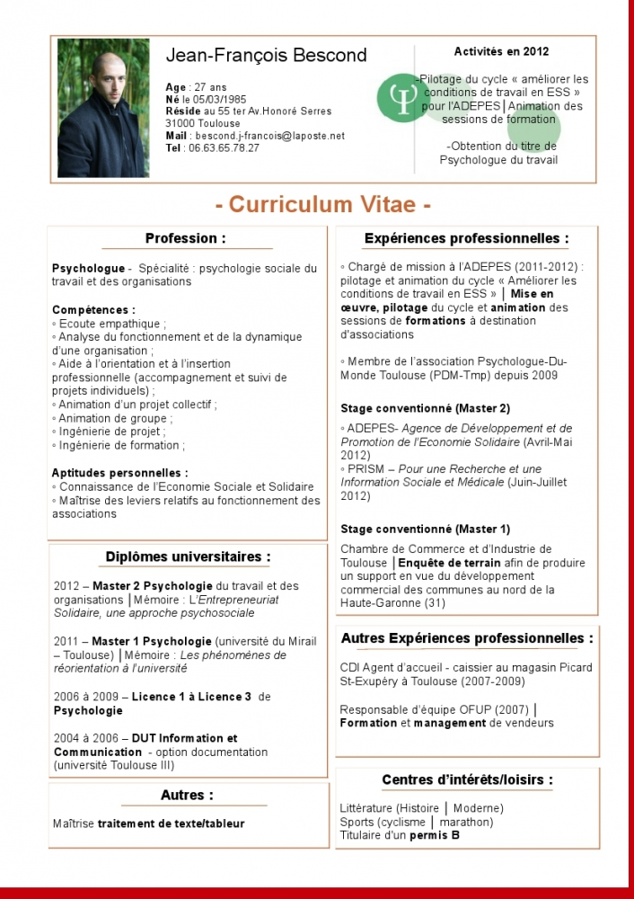 curriculum vitae psychologue clinicienne