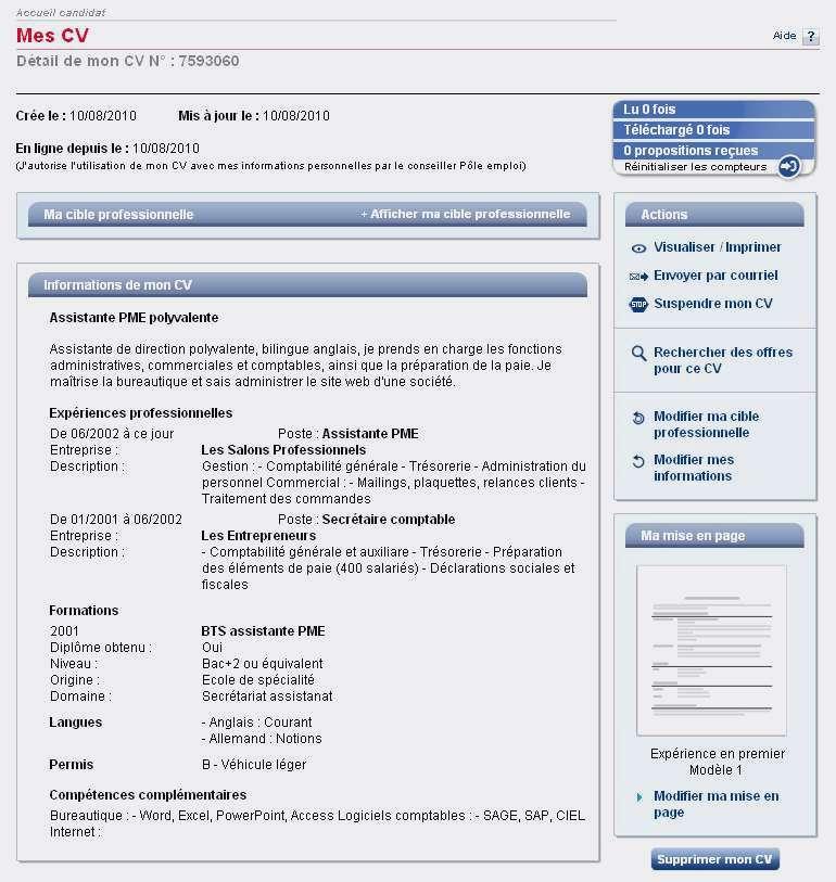 Pole emploi exemple de cv - laboite-cv.fr