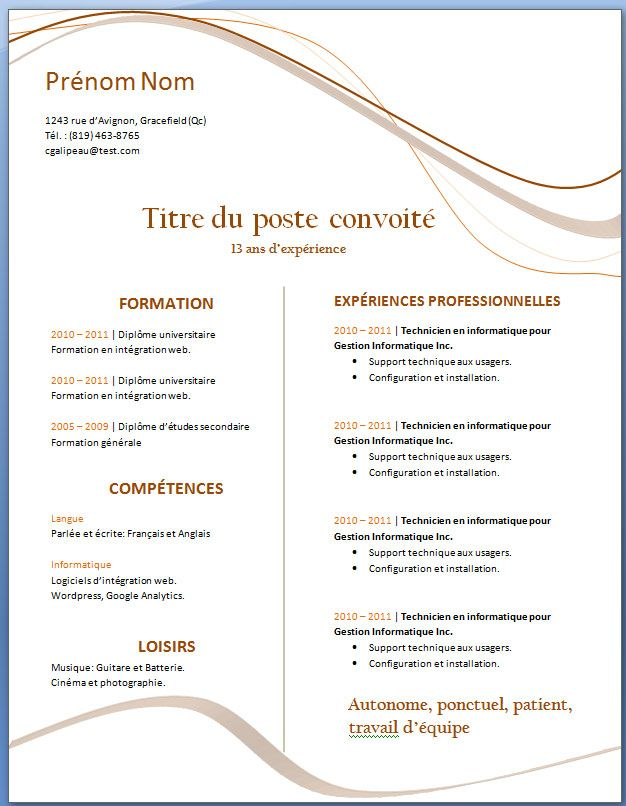 exemple de cv word gratuit a telecharger