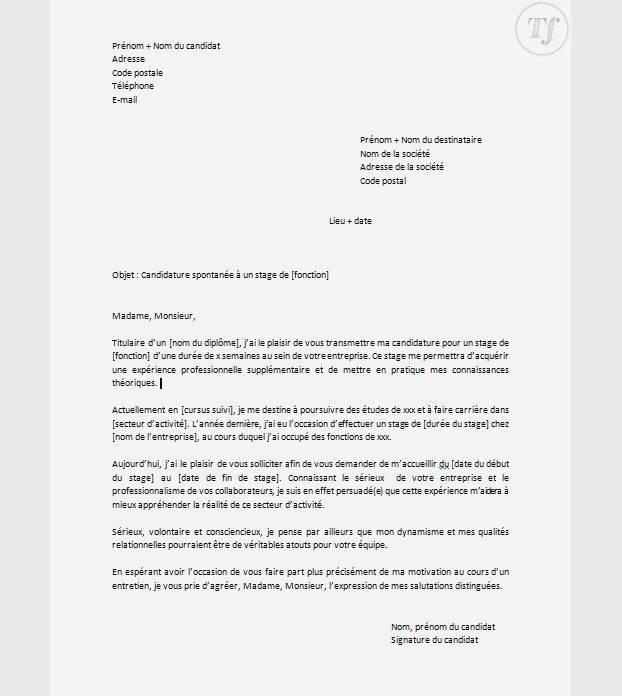 lettre de motivation candidature spontan u00e9e stage