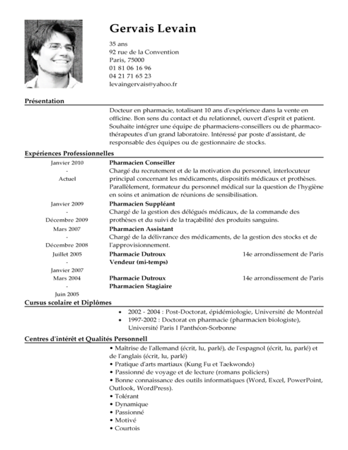exemple de cv delegue pharmaceutique