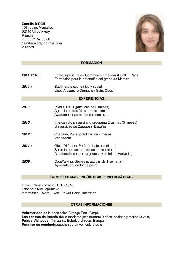 curriculum vitae espanol pdf