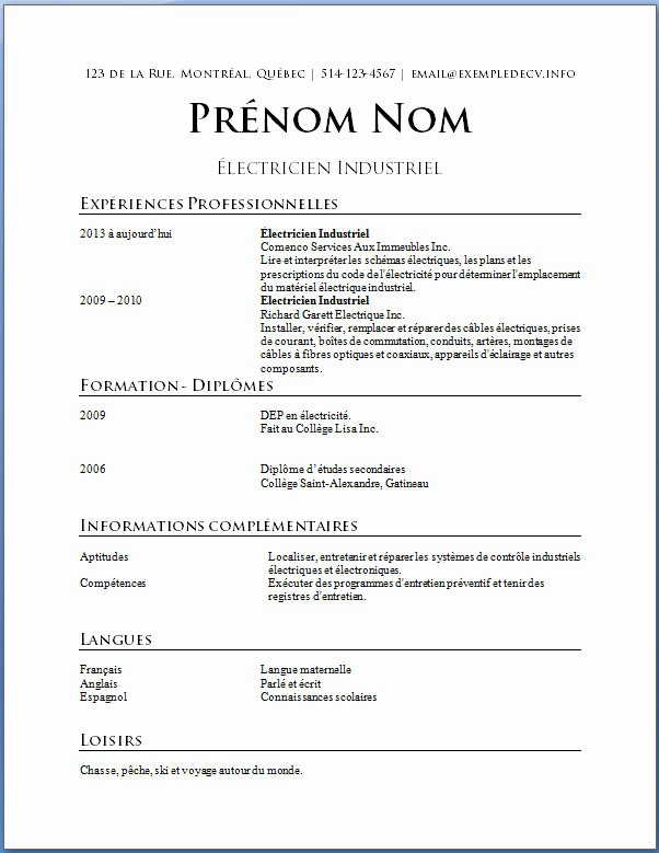 Curriculum vitae francais simple - laboite-cv.fr