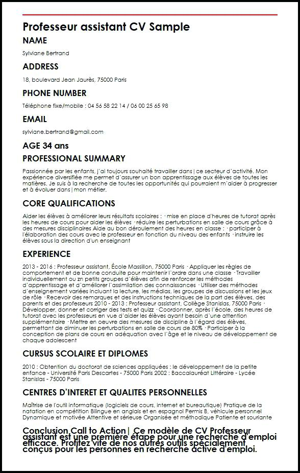 exemple de cv tuteur prive