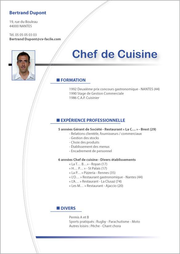 exemple cv de cuisinier