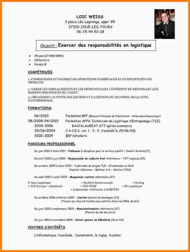 curriculum vitae manutentionnaire