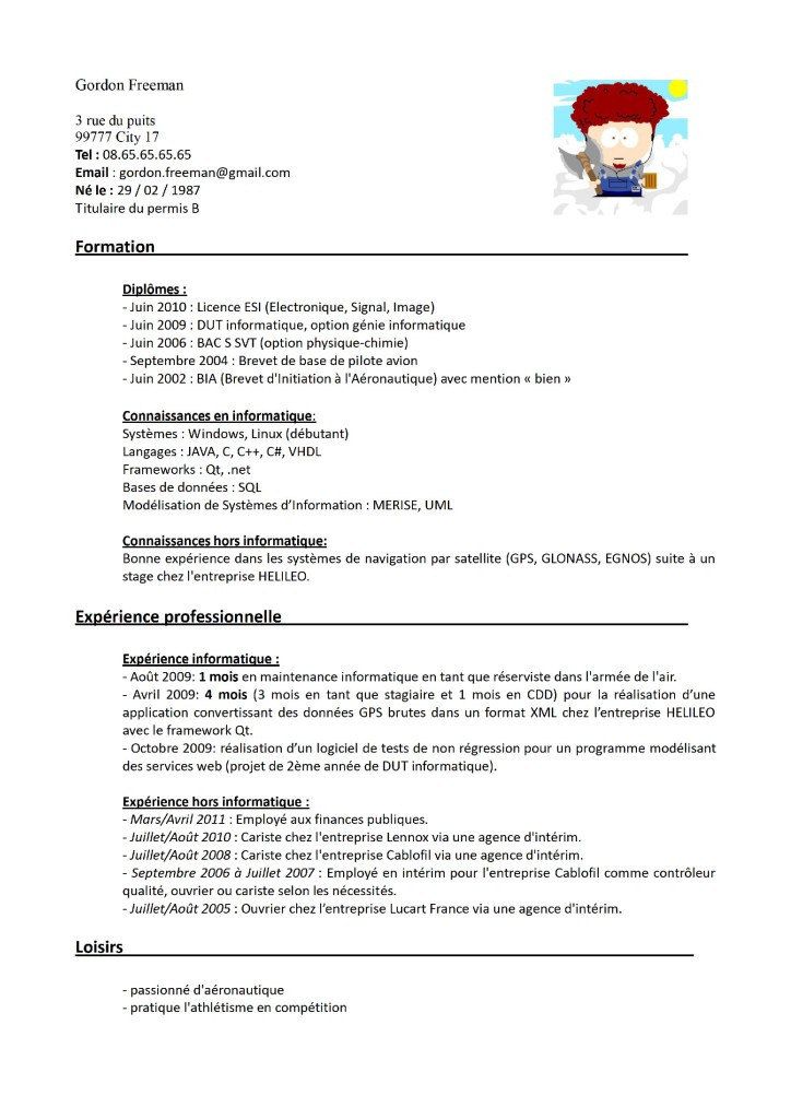 exemple de cv manutentionnaire en magasin