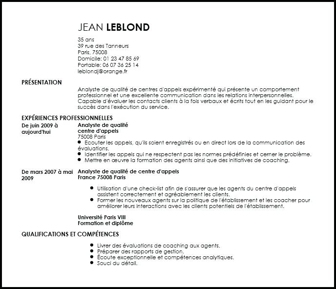 exemple de cv centre d appel