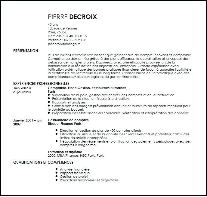 exemple de cv comptable senior