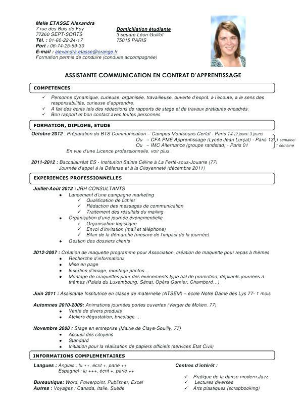 curriculum vitae assistante maternelle