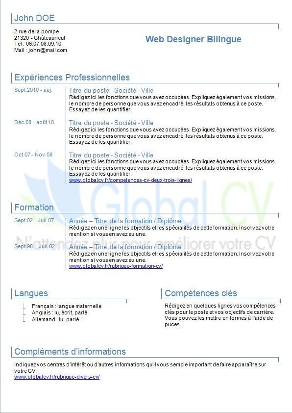 langues curriculum vitae