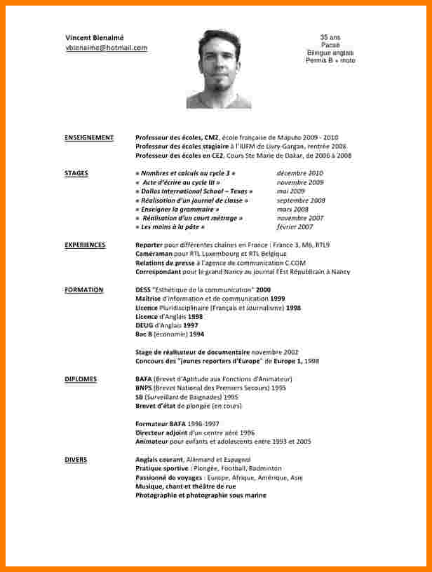 cv exemple de professeur